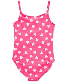 Little & Big Girls 1-Pc. Heart-Print Swim Suit