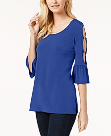 Ring-Detailed Cutout Ruffle-Sleeved Top, Created for Macy's