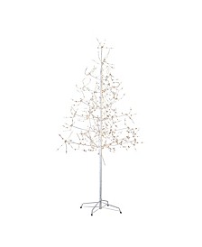 6-Foot White Birch Bark with LED Fairy Lights Tree