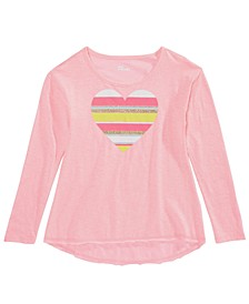 Big Girls Striped Heart T-Shirt, Created For Macy's