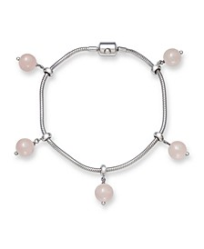 "Adjustable Rose Quartz 8mm Charm 7.5"" Bracelet in Sterling Silver"