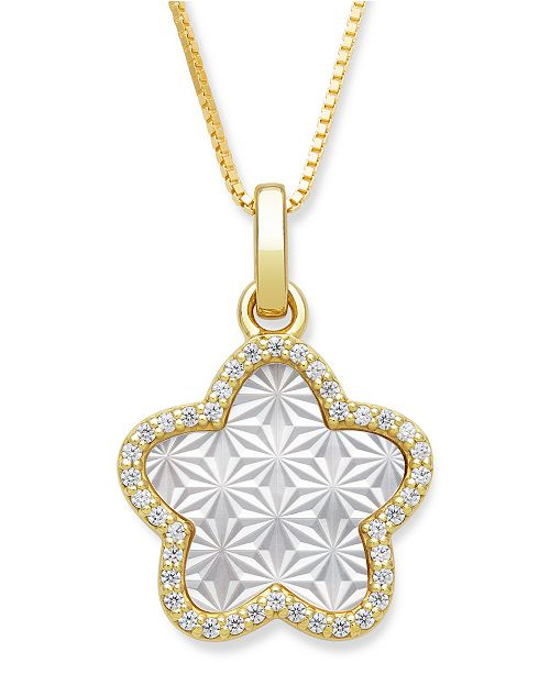 """Macy's Mother of Pearl 13mm and Cubic Zirconia Star Shaped Pendant with 18"""" Chain in Gold Over Silver"""