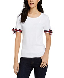 Cotton Tie-Sleeve Top