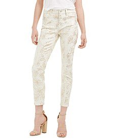 Metallic Floral Print Cropped Pants
