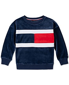 Big Girls Velour Flag Sweatshirt