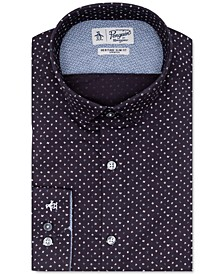 Men's Heritage Slim-Fit Comfort Stretch Navy Blue Letter-Print Dress Shirt