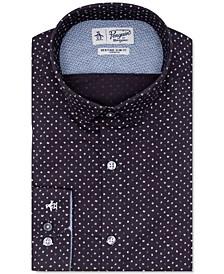 Men's Heritage Slim-Fit Comfort Stretch Navy Blue Letter-Print Dress Shirt