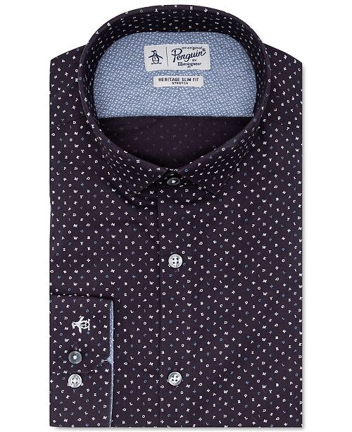 Original Penguin Men's Heritage Slim-Fit Comfort Stretch Navy Blue Letter-Print Dress Shirt