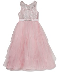 Toddler Girls Sparkle & Tulle Cascade Gown