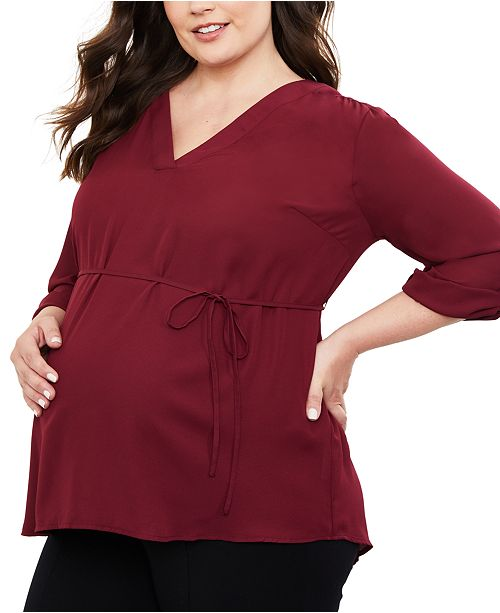 Motherhood Maternity Plus Size V-Neck Blouse