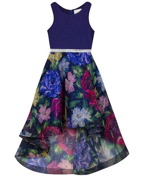 Rare Editions Big Girls Glitter & Floral-Print High-Low Dress