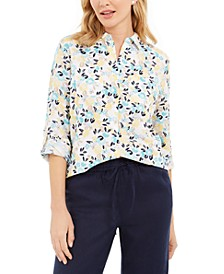 Petite Printed Button-Front Linen-Blend Top, Created for Macy's