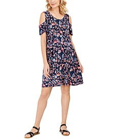 Printed Cold-Shoulder Swing Dress, Created for Macy's