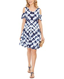 Tie-Dye Cold-Shoulder Swing Dress, Created For Macy's