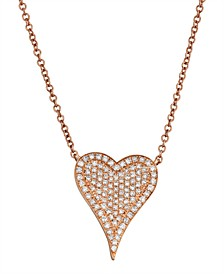 Diamond (1/3 ct. t.w.) Heart Necklace in 14K Rose Gold