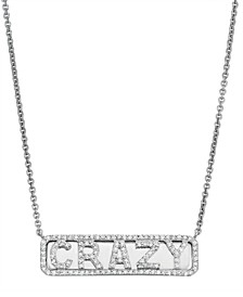 Diamond (1/4 ct. t.w.) 'Crazy' ID Necklace in Sterling Silver