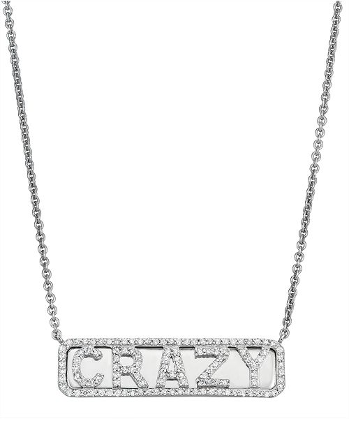 Serena Williams Jewelry Diamond (1/4 ct. t.w.) 'Crazy' ID Necklace in Sterling Silver