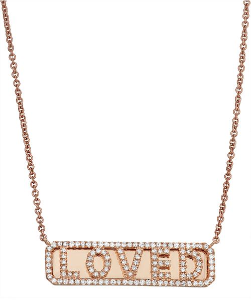 Serena Williams Jewelry Diamond (1/3 ct. t.w.) 'Loved' ID Necklace in 14K Rose Gold