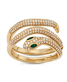 Diamond (5/8 ct. t.w.) & Emerald (1/5 ct. t.w.) Serpent Ring in 14K Yellow Gold