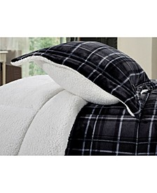 Pattern Micromink Sherpa - Backing Premium Quality Down Alternative Micro - Suede 3-Piece Reversible Comforter Set