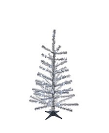 24-Inch Battery-Operated Pre-Lit Silver Tinsel Tree