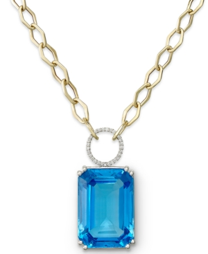 Blue Topaz (70 ct. t.w.) and Diamond (1/4 ct. t.w.) Statement Necklace in 14k Gold