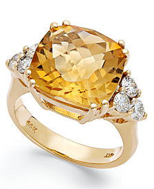 14k Gold Ring, Citrine (7 ct. t.w.) and Diamond (5/8 ct. t.w.) Cushion-Cut Ring