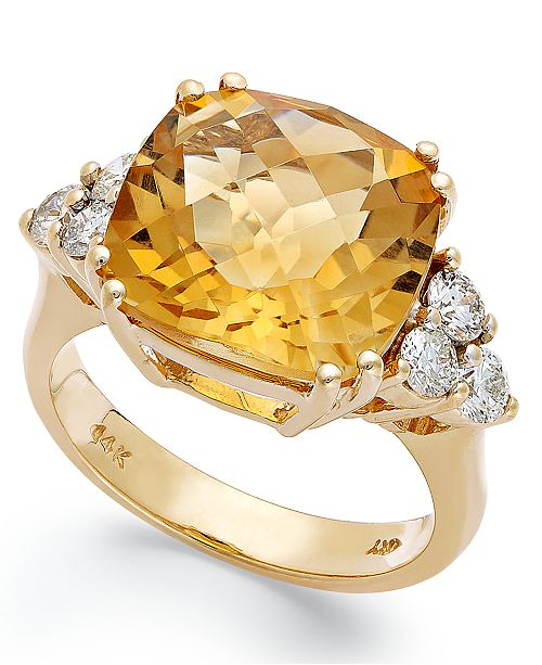 Macy's 14k Gold Ring, Citrine (7 ct. t.w.) and Diamond (5/8 ct. t.w.) Cushion-Cut Ring