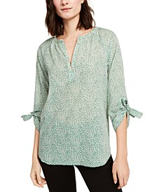 Cotton Printed Tie-Sleeve Blouse
