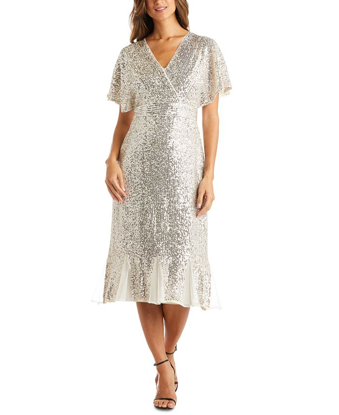 R & M Richards - Sequinned Fit & Flare Dress