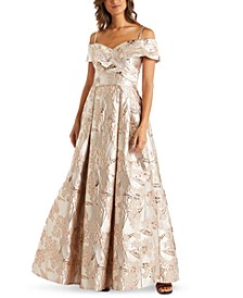 Floral-Brocade Cold-Shoulder Ball Gown