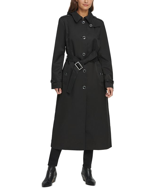 DKNY Belted Water-Resistant Maxi Hooded Trench Coat