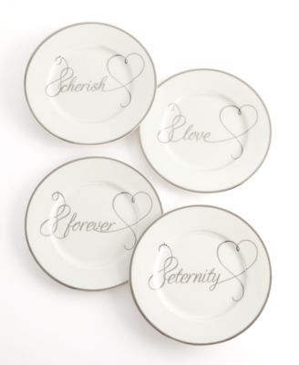 Set of 4 Love Story Appetizer Plates