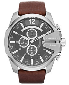 Diesel Men's Chronograph Mega Chief Brown Leather Strap Watch 51mm DZ4290