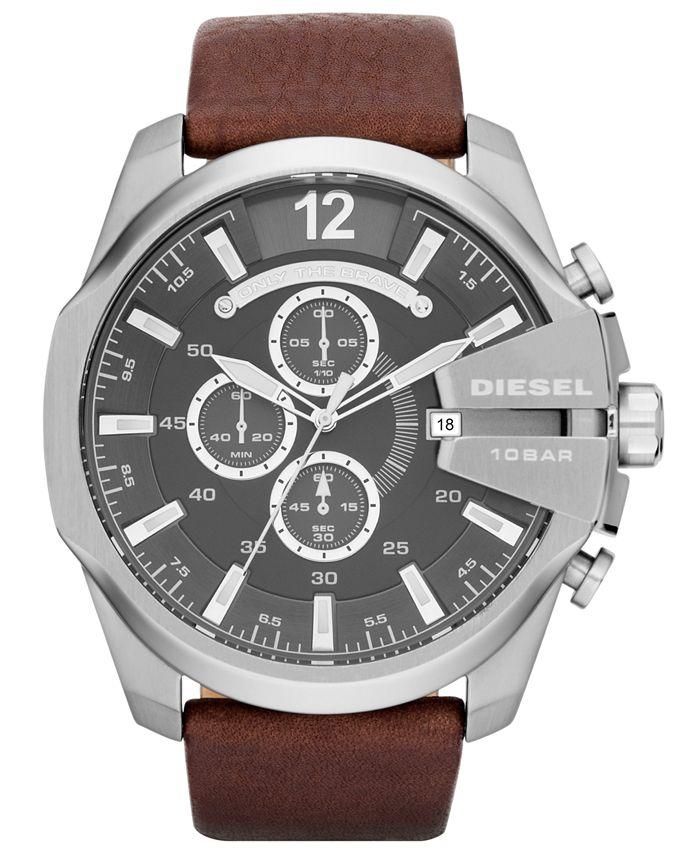 Diesel - Watch, Men's Chronograph Brown Leather Strap 51mm DZ4290