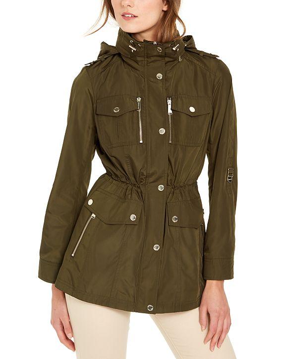 Michael Kors Hooded Cinch-Waist Anorak Jacket