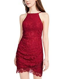 Juniors' Lace Halter Wrap Skirt Dress