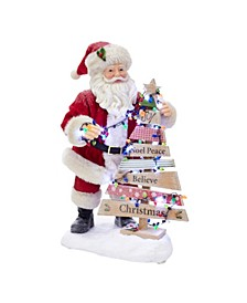 11.5-Inch Fabriché™ Battery-Operated Santa with Lighted Christmas Tree