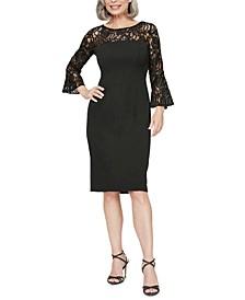 Lace-Illusion Sheath Dress