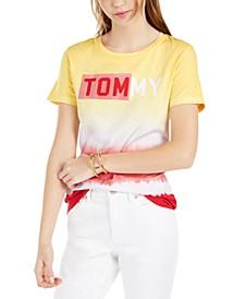 Cotton Ombré-Stripe Logo T-Shirt