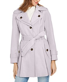 Hooded Belted Water-Resistant Trench Coat