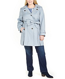 Plus Size Hooded Belted Trench Coat