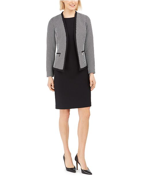 Le Suit Petite Houndstooth-Jacket Dress Suit