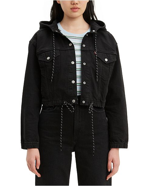 Levi's Synched Hooded Cropped Cotton Denim Jacket