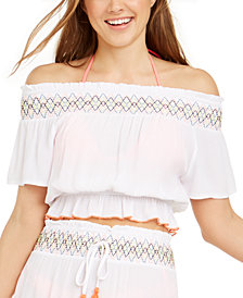 Miken Juniors' Smocked Off-The-Shoulder Cover-Up Top