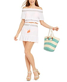 Juniors' Smocked Ruffled Swim Cover-Up Top & Skirt