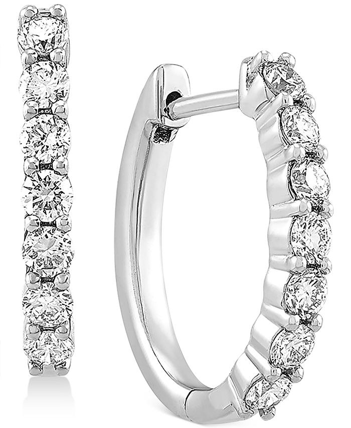 Forever Grown Diamonds - Lab-Created Diamond Small Hoop Earrings (5/8 ct. t.w.) in Sterling Silver