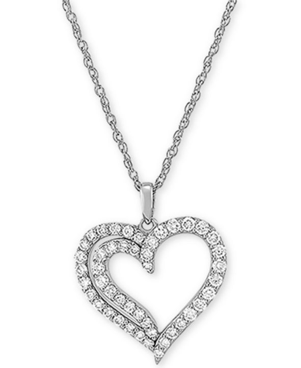 "Forever Grown Diamonds Lab Created Diamond Heart 18"" Pendant Necklace (3/4 ct. t.w.) in Sterling Silver"