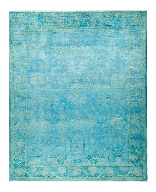 """Timeless Rug Designs CLOSEOUT! One of a Kind OOAK753 Teal 7'10"""" x 10'3"""" Area Rug"""