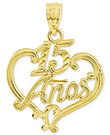 14k Gold Charm, Diamond-Cut 15 Anos Heart Charm